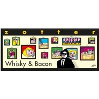 Bitterschokolade mit Whisky, Haselnussnougat & Bacon, handgeschöpft