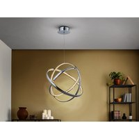 Integrated LED Pendant Light, Chrome, Crystal