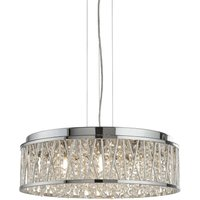 7 Light Ceiling Pendant Chrome with Glass Crystals, G9
