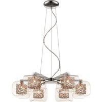 6 Light Multi Arm Ceiling Pendant Mesh Chrome, Copper,