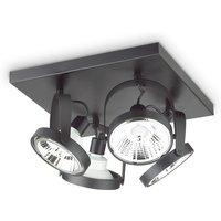 Indoor 4 Lights Ceiling Spotlight Lamp Black, GU10