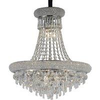 Ceiling Pendant Chandelier 9 Light Polished Chrome, Crystal