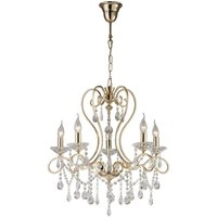 Ceiling Pendant Chandelier 5 Light French Gold, Crystal