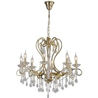 Ceiling Pendant Chandelier 8 Light French Gold, Crystal