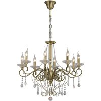 Ceiling Pendant Chandelier 8 Light Antique Brass, Crystal