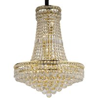 Ceiling Pendant Chandelier 14 Light French Gold, Crystal