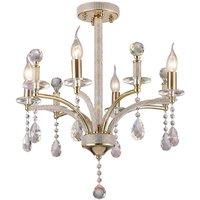 Semi Flush Ceiling Pendant 4 Light French Gold, Crystal