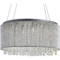 8 Light Ceiling Pendant Chrome with Crystals, G9