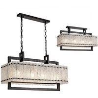 Medium Rectangular Ceiling Pendant, 8 Light E27, Matt Black,