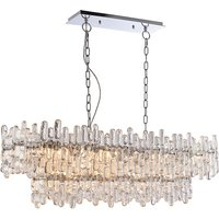 Pendant Chrome Effect Plate and Clear Glass 12 Light Dimmabl