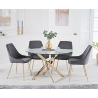 Product photograph showing Denver 120cm Gold Leg Glass Dining Table With Fern Velvet Chairs - Grey 4 Chairs