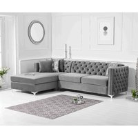 Product photograph showing Ex-display Mistral Left Facing Grey Velvet Chaise Sofa