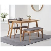 Product photograph showing Ex-display Sacha 120cm Dining Table With Two Sacha Cushion Seat Chairs And One Bench