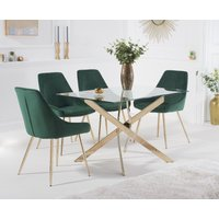Product photograph showing Denver 120cm Rectangular Gold Leg Glass Dining Table With Fern Velvet Chairs - Grey 4 Chairs