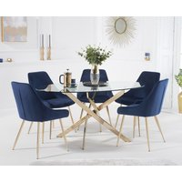 Product photograph showing Denver 165cm Oval Gold Leg Glass Dining Table With Fern Velvet Chairs - Grey 4 Chairs
