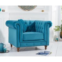 Product photograph showing Milano Chesterfield Teal Plush Armchair
