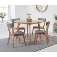 Sacha 110cm Round Dining Table with Sacha Grey and Oak Cushion Seat Chairs - Oak and Grey, 2 Chairs