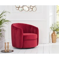 Read more about Sarah red velvet swivel chair