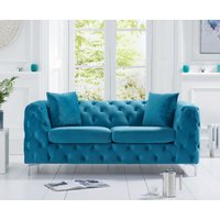 Product photograph showing Amara Teal Plush 2 Seater Sofa