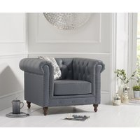 Product photograph showing Milano Chesterfield Grey Leather Armchair