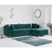 Mistral Right Facing Green Velvet Chaise Sofa