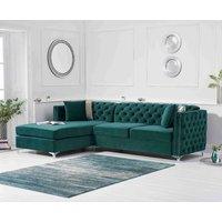 Mistral Left Facing Green Velvet Chaise Sofa