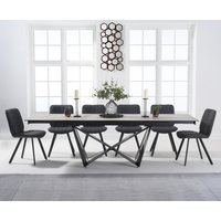 Blenheim 180cm White Ceramic Dining Table with Dexter Faux Leather Chairs - Brown, 6 Chairs
