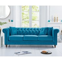 Product photograph showing Milano Chesterfield Teal Plush 3 Seater Sofa