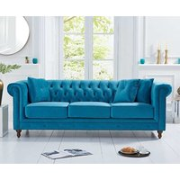 Read more about Ex-display milano chesterfield teal plush 3 seater sofa
