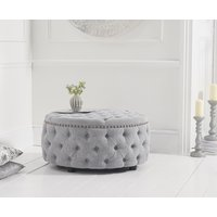 Read more about Flora grey linen round footstool