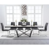 Blenheim 180cm White Ceramic Dining Table with Tarin Chairs - Grey, 6 Chairs