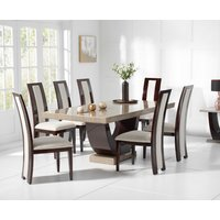Raphael 200cm Brown Pedestal Marble Dining Table with Raphael Chairs