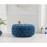 Read more about Flora blue velvet round footstool