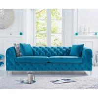 Product photograph showing Amara Teal Plush 3 Seater Sofa