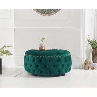 Read more about Flora green velvet round footstool