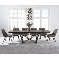 Blenheim 180cm Mink Ceramic Dining Table with Marcel Antique Chairs - Brown, 6 Chairs