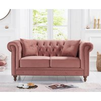 Product photograph showing Milano Chesterfield Blush Plush 2 Seater Sofa