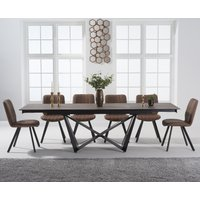 Blenheim 180cm Mink Ceramic Dining Table with Dexter Faux Leather Chairs - Grey, 6 Chairs