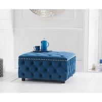 Read more about Flora blue velvet square footstool