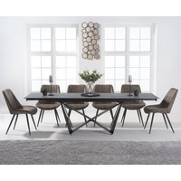 Blenheim 180cm Extending Grey Stone Dining Table with Marcel Antique Chairs - Mink, 6 Chairs