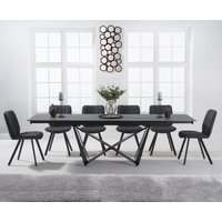 Blenheim 180cm Extending Grey Stone Dining Table with Dexter Faux Leather Chairs - Brown, 6 Chairs