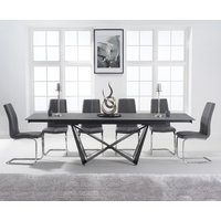 Product photograph showing Blenheim 180cm Extending Grey Stone Table With Tarin Chairs - White 6 Chairs