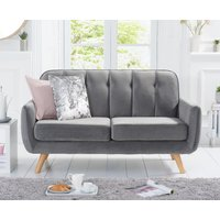 Product photograph showing Camila Grey Velvet 2 Seater Sofa