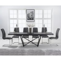 Product photograph showing Blenheim 180cm Extending Grey Stone Table With Lorin Chairs - White 6 Chairs