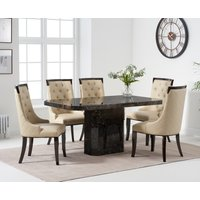 Read more about Belle 160cm brown marble dining table with angelica dining chairs