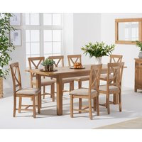 Noah 160cm Extending Table with Cross Back Chairs - Oak, 4 Chairs