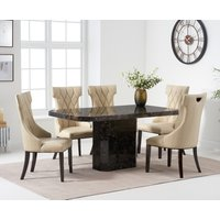Read more about Belle 160cm brown marble dining table with freya dining chairs