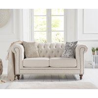 Product photograph showing Milano Chesterfield Ivory Linen 2 Seater Sofa
