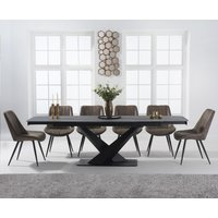 Jacob 180cm Grey Extending Stone Dining Table with Marcel Antique Chairs - Brown, 6 Chairs