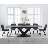Jacob 180cm Grey Extending Stone Dining Table with Dexter Faux Leather Chairs - Grey, 6 Chairs